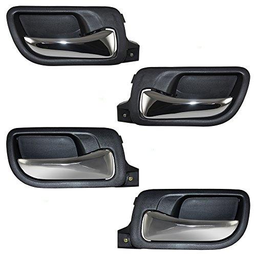 Honda Accord Interior Door Handle - 4 Pc Set Front & Rear Inside Door Handles Chrome Lever w/Black Housing Replacement for Honda Accord HO1352132 HO1353132 HO1552106 HO1553106 AutoAndArt