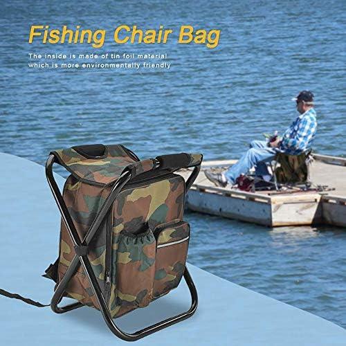 Outdoor vissen Stoel, PVC gecoate Oxford stoffen zak Folding Camping Kruk, Portable rugzak koeler Geïsoleerde Zak van de Picknick Wandelen Seat Bag Bearing150kg,Camouflage