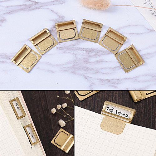 Index Tab Clips - SNNplapla 6pcs Vintage Brass Bookmark Metal Index Clamp Label Clip Stationery Paper Clips