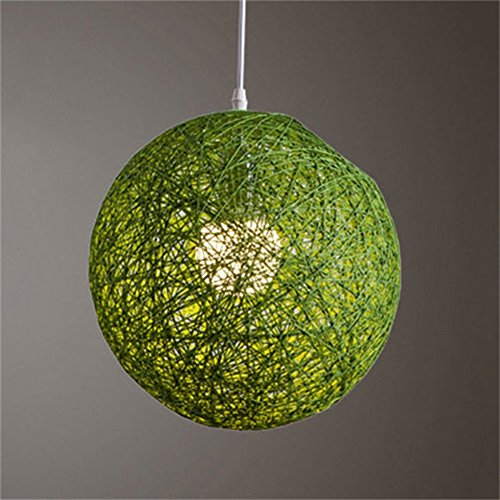 Zehui Light Lamp Shades Light Accessories(15cm Diameter) Round Concise Hand-woven Rattan Vine Ball Pendant Lampshade Green - Black Pleated Table Lamp