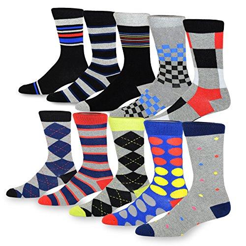 TeeHee Men's Fun and Fashion Cotton Crew Socks 10-Pack (B...