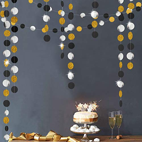 Gold Back Circle Dots Garland streamers for Party Decorations Glitter Black Hanging Bunting Banner Backdrop Decoration for Birthday/Wedding/New Year/Graduation Party Supplies -