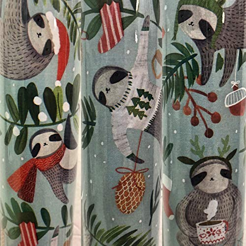 1 Roll Heavy Weight Sloth Christmas Gift Wrapping Paper with...