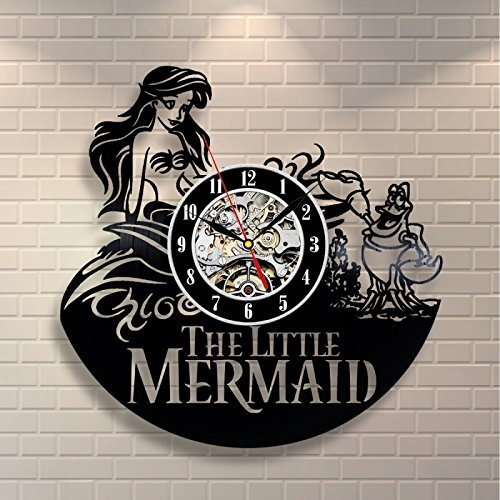 Little Mermaid Ariel Disney Cartoon Vinyl Record Design Wall Clock - Decorate your home with Modern Little Mermaid Art - Best gift for him and her, girlfriend or boyfriend - Win a prize for feedback