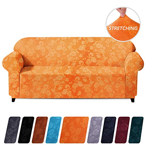 1 Piece Plush - Colorxy 1-Piece Velvet Plush Stretch Sofa Cover, Machine Washable Spandex Furniture Protector, Embossing Flower Fabric Anti Slip Sofa Chair Slipcover with Elastic Bottom for 3 Cushion Couch