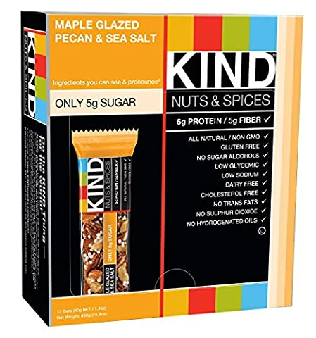 KIND Bars, Maple Glazed Pecan & Sea Salt, Gluten Free, 1.4 Ounce Bars, 12 Count