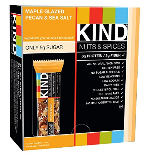 KIND Bars, Maple Glazed Pecan & Sea Salt, Gluten Free, 1.4 Ounce Bars, 12 Count