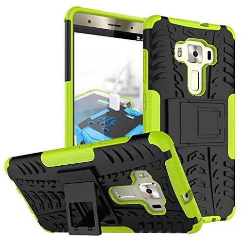 Asus Zenfone 3 Deluxe ZS570KL Funda, adorehouse Hybrid TPU y PC Bumper Back Cover [diseño 2 en 1] Anti-Gota Anti-Choques Rígido Carcasas para Asus Zenfone 3 Deluxe ZS570KL 5.7 inch (Blanco) Verde