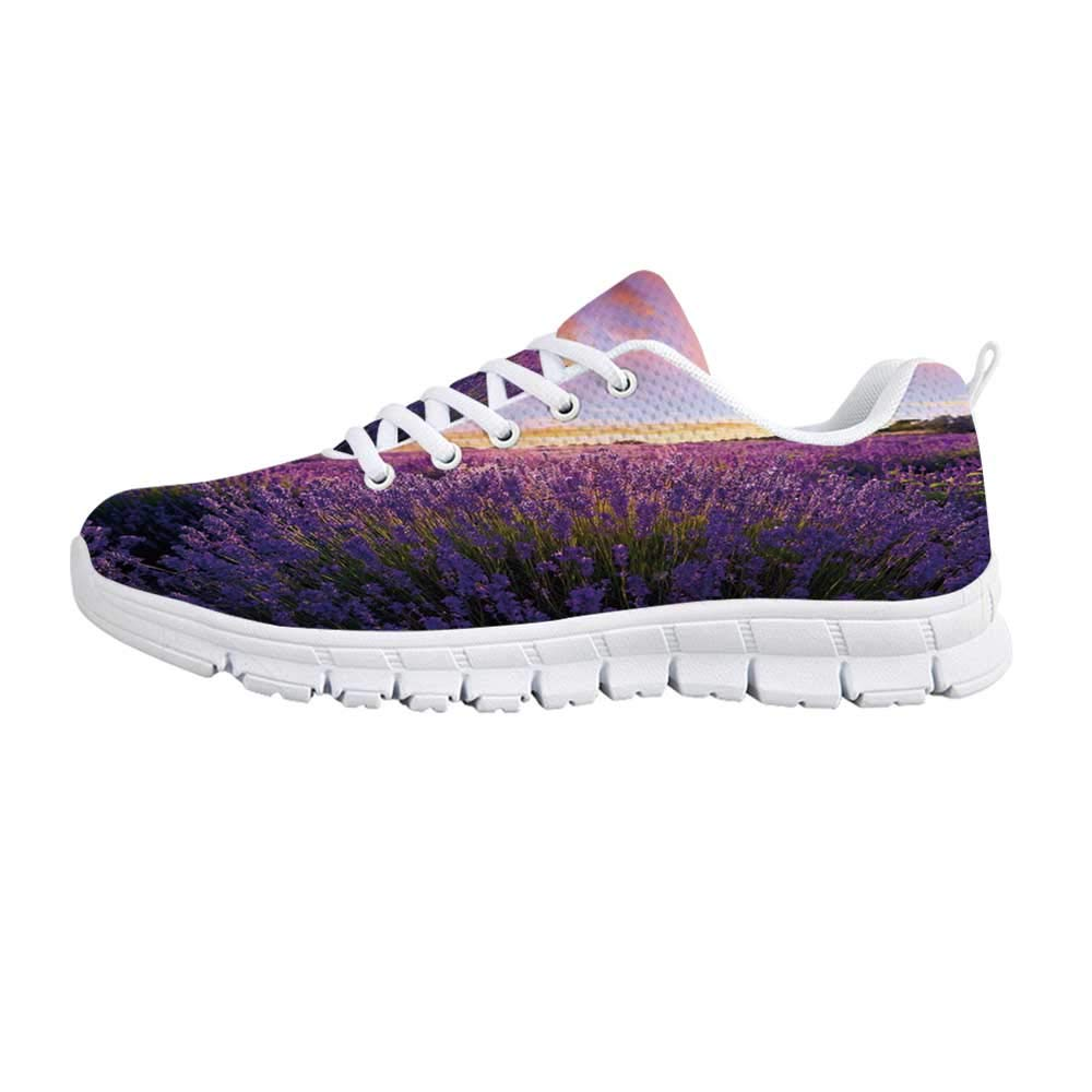 YOLIYANA Lavender Fashion Gym ShoesFloral Vintage Composition with Rustic Elements Butterflies Bouquets Sneakers for Girls Womens,US 5