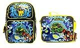 New Pokemon Pikachu 16'' Canvas Black School Backpack PLUS Lunch Bag Set
