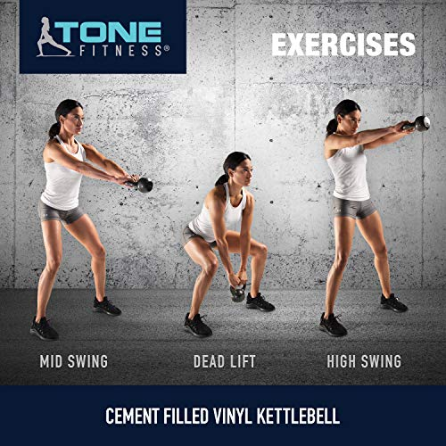 Tone Fitness Vinyl Kettlebell, Lime, 10-Pound by Tone Fitness (Image #7)