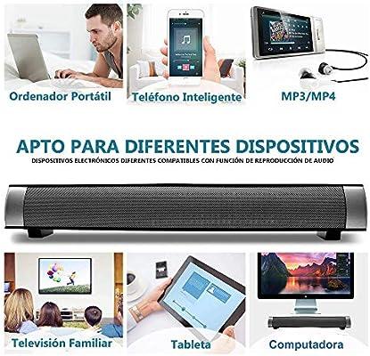 Altavoces Bluetooth PC, Barra de Sonido para TV Mini Soundbar Bluetooth 4.2 Inalambricos con Cables RCA/AUX/USB,Plata, 15.7 Pulgadas: Amazon.es: Electrónica