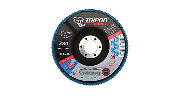 7//8 Arbor 12250 RPM 5 OD 7//8 Arbor 60 Grit Depressed 5 OD Taipan Abrasives TO-5024  Original Zirconia Flap Disc