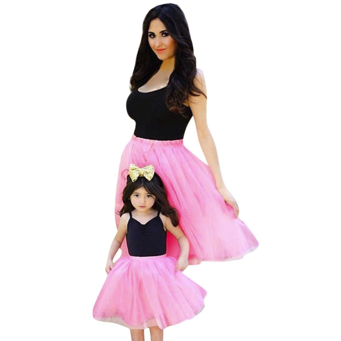 AutumnFall 2018 New Style Family Sundress,Mom&Me Lady Women Baby Girls Kids Solid Tutu Match Family Dress Clothes (Size:L, Black+Pink-Women) by AutumnFall