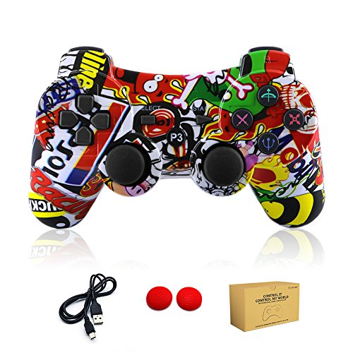 dainslef PS3 Controller Wireless Bluetooth Double Shock Sixaxis Remote Gamepad for Sony PS3 Playstation (Graffiti) ... (Best Modded Ps3 Controller)