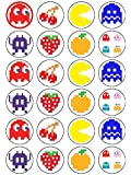 24 Pac Man Pacman Pac- Man Game Edible Wafer Paper Cup Cake Toppers