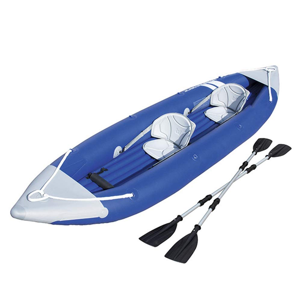 ZnMig Easy to Use Durable Rubber Boat Inflatable Boat 3 People Assault Boat Hard Bottom Fishing Boat 4 People Drifting Boat Kayak (Color : Blue, Size : 385x93cm) by ZnMig