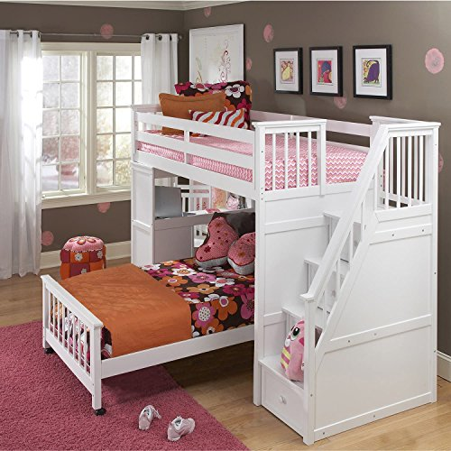 NE Kids School House Lower Stair Loft Bed in White - Twin