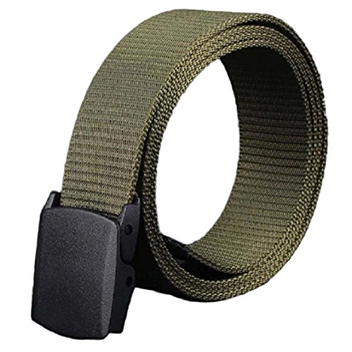 35 Mm Bridle (Mchoice Wild-Men-Canvas-Belt-Hypoallergenic-Metal free-Plastic-Automatic-Buckle (Army)