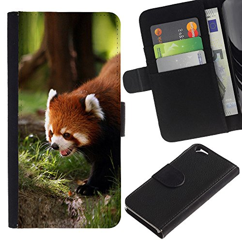 EuroCase - Apple Iphone 6 4.7 - Cute Red Panda - Cuir PU Coverture Shell Armure Coque Coq Cas Etui Housse Case Cover
