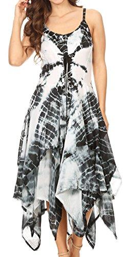 Black Uneven Hem Dress - Sakkas 902 Annabella Corset Bodice Handkerchief Hem Dress - Black/White - One Size Regular