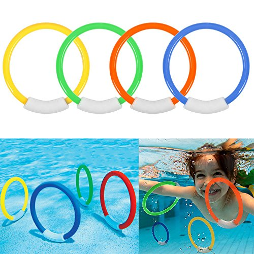 Ytuomzi Dive Rings Swimming Pool Toy Rings 4 PCS Plastic Diving Ring Colorful Sinking Pool Rings Underwater Fun Toys for Kids Dive Training Dive & Retrieve
