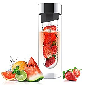 Asobu Flavor It 20 Ounce Glass Water Bottle With Fruit Infuser,  Smoke Silver