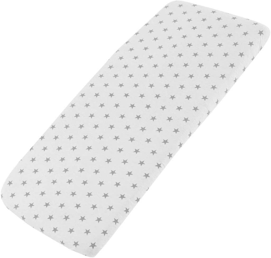 2X Midnight Grey Star FYLO Jersey Fitted Sheet Compatible with Babylo Cozi Sleeper 55x90cm 2X Pink