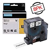 Industrial Dymo Rhino 5200 Permanent Vinyl 18445 Labels Tape Compatible with DYMO RHINO 4200,5000,6000,RhinoPro Label Maker, Industrial LabelWriter, Black on White, 3/4'' x 18ft, (19mm x 5.5m), 8 Rolls