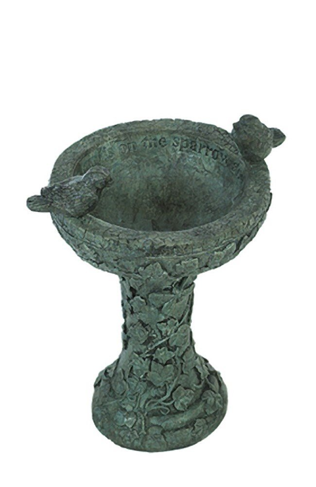 Solid Rock Stoneworks Eye on Sparrow Decorative Stone Birdbath 15in Tall Indigo Color