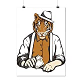 Tiger Gambler Hat Big Cat Mask Matte/Glossy Poster A3 (12x17 inches) | Wellcoda