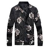 Cloudstyle Mens Slim Fit Jacket Lightweight Sportswear Casual Long Sleeve Bomber Jacket,Black,Small