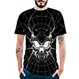 Pervobs Newest Mens Fashion 3D Print Splicing Short Sleeve T-Shirt Crew Neck Basic Causal Tee Shirts Blouse Tops (XL, BlackA)
