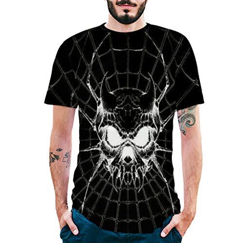 Pervobs Newest Mens Fashion 3D Print Splicing Short Sleeve T-Shirt Crew Neck Basic Causal Tee Shirts Blouse Tops (XL, BlackA) by Pervobs Mens T-Shirts (Image #7)