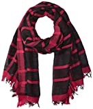 Armani Jeans Women's Plaid Woven Scarf, black, One Size