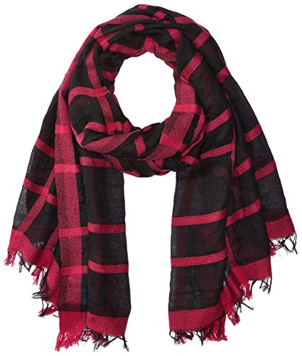 Armani Jeans Women's Plaid Woven Scarf, black, One Size by ARMANI JEANS