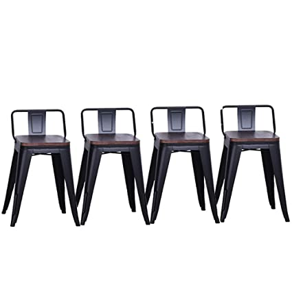 Amazoncom Dekea 18 Inch Metal Stools With Wooden Top Dining Chairs
