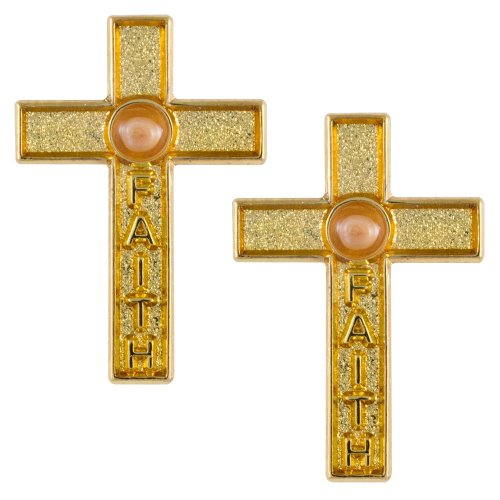 Faith Mustard Seed Cross Pins Gold Set of 2 - Genuine Mustard Seed