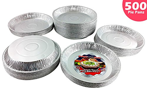 Pactogo 12 inch Aluminum Foil Pie Pan Extra-Deep Disposable Tin Plates (Pack of 500)