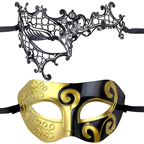 Couples Pair Mardi Gras Venetian Masquerade Masks Set Party Costume Decorations (Mardi Gras Couples Costumes)