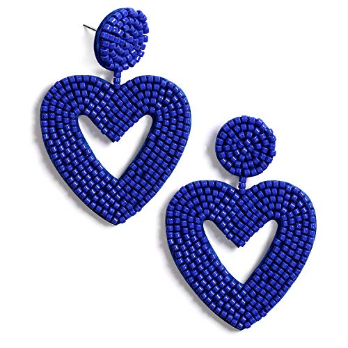 Statement Beaded Drop Earrings Bohemian Handmade Love Heart Drop Dangle Earrings Studs Gifts for Women Girls (Blue) ()