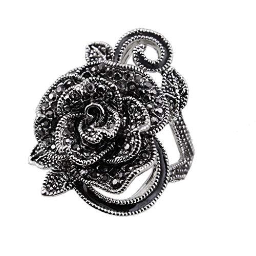 Vintage Fashion Rose Flower Ring Black Marcasite Stones Paved Statement Rings for Women Girls ()