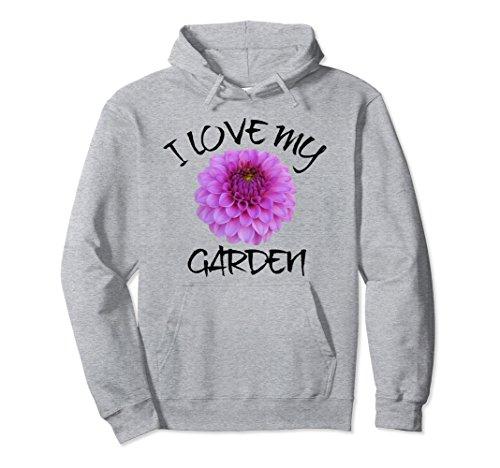 Unisex I Love My Garden Hoodie, Dahlia Bloom Garden Pullover Medium Heather Grey - Garden Bloom Sweater