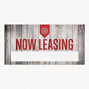 5-Pack Now Leasing 96x48 Nautical Wood Perforated Window Decal CGSignLab