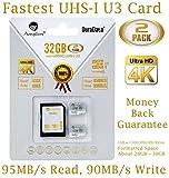 2X 32GB Micro SDHC U3 Card Plus SD Adapter Pack. Amplim Extreme Pro Class 10 UHS-I MicroSDHC 95MB/s Read, 90MB/s Write. Ultra High Speed HD UHD 4K Video. Internal/External MicroSD Flash Memory Storage