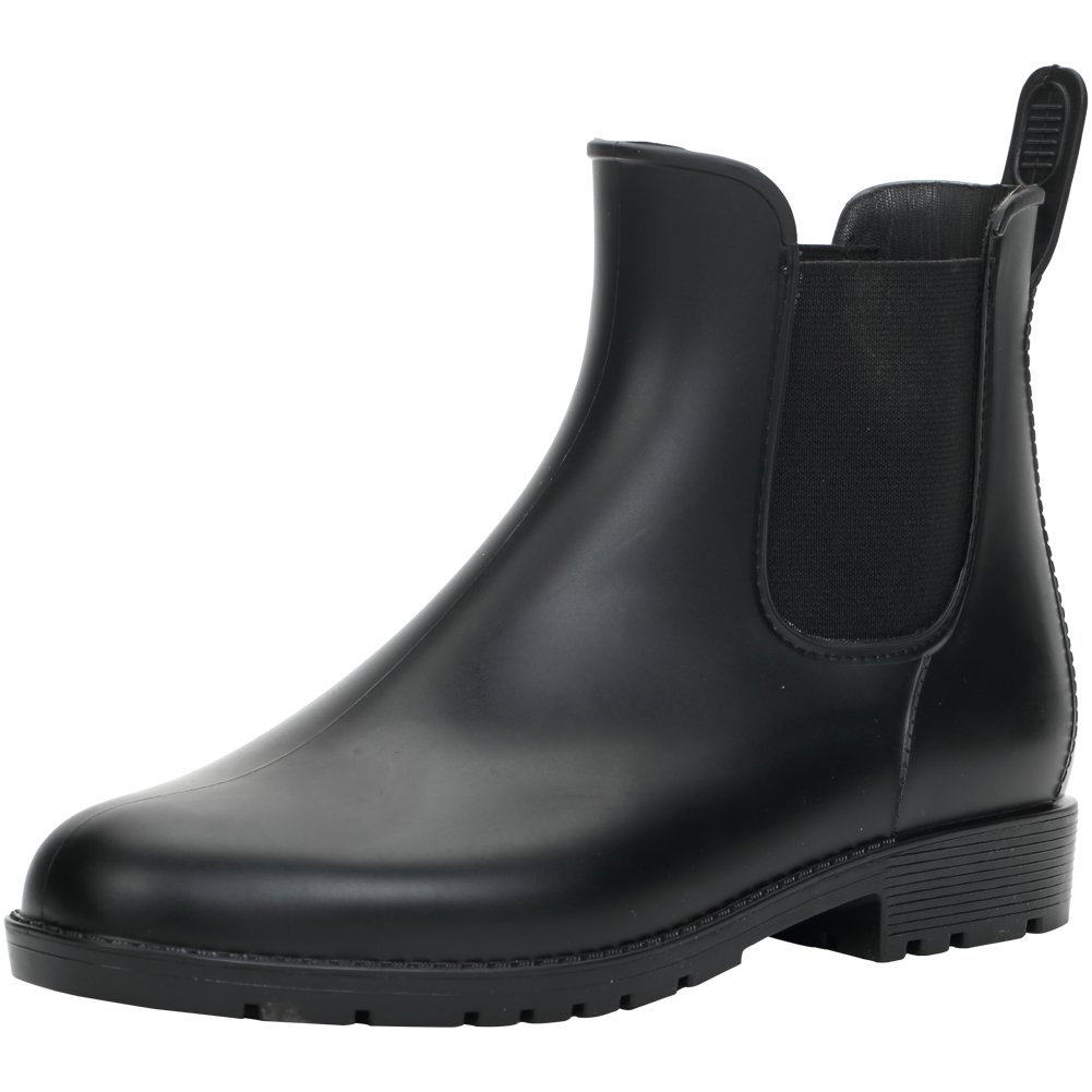 Hellozebra Anti-Slip Ladies' Rain Boots PVC Boots Fashion Rain Shoes Elastic Type Shoes Women's Boots 8 B(M) US Black