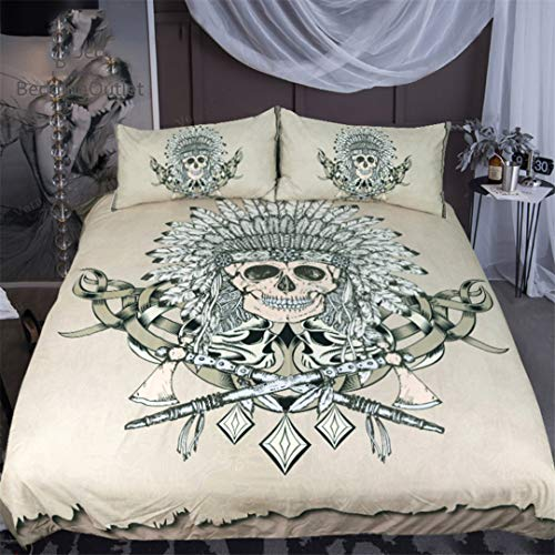 Indian Skull Bedding Set Tribal Boys Duvet Cover Hatchet Feathers Gothic Bedclothes 3-Piece US Full -