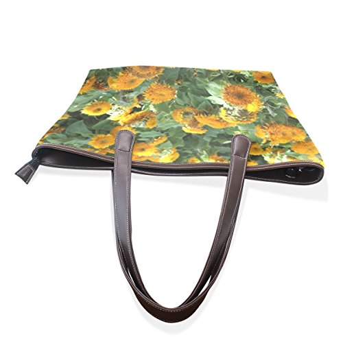 Grande Cm Floreale Tote Muticolour Tracolla Pu Bag Girasoli Coosun Impugnatura M Womens A Leather Borsa 40x29x9 1q8U6wa