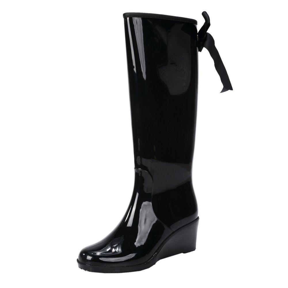 fereshte Women's Waterproof High/Mid Calf Puddles Rain Boots with Bowknot Black US 7