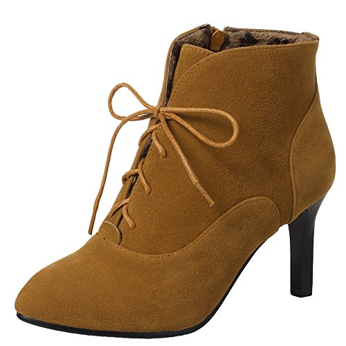 up High Heel Boots Latasa Lace yellow Zip Ankle amp; dark Women's Faux up Suede B0nwq8zZ0